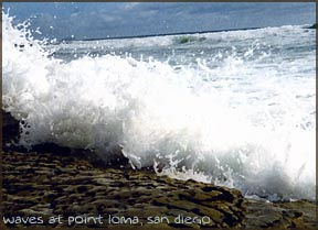 waves on rocks, point loma, san diego